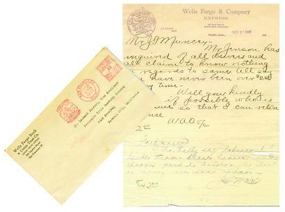 Lettre avec enveloppe émanant de la Wells...