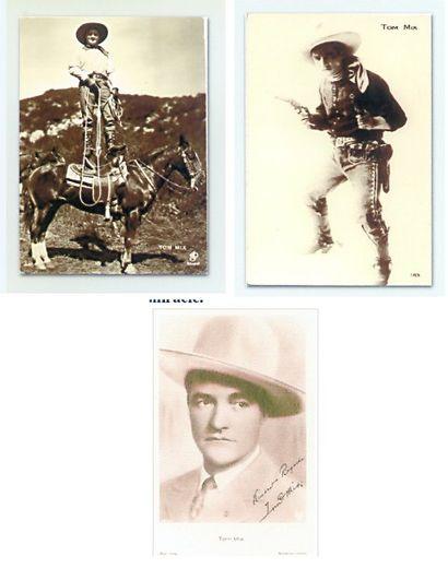 Lot de trois cartes postales Tom Mix.