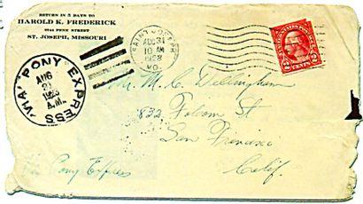 Enveloppe Pony Express 1923. Enveloppe ayant...
