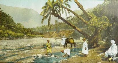 Algérie, c. 1900. Oued d'El Kantara. Campement...
