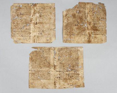 MANUSCRIT - Trois bifolia (12 pages) in-8°...