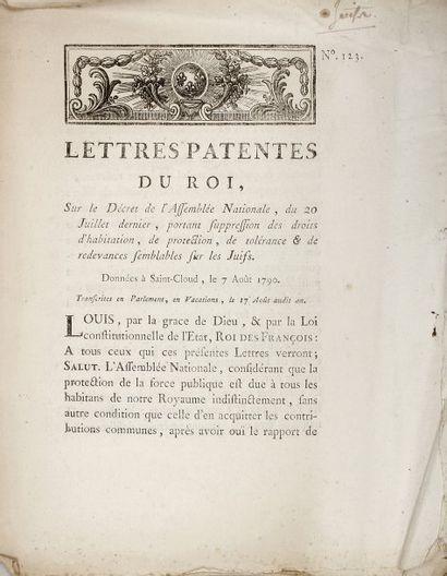 RÉVOLUTION - ALSACE - Lettres patentes du...