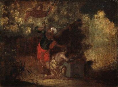 ANONYME Le sacrifice d'Abraham Huile sur...