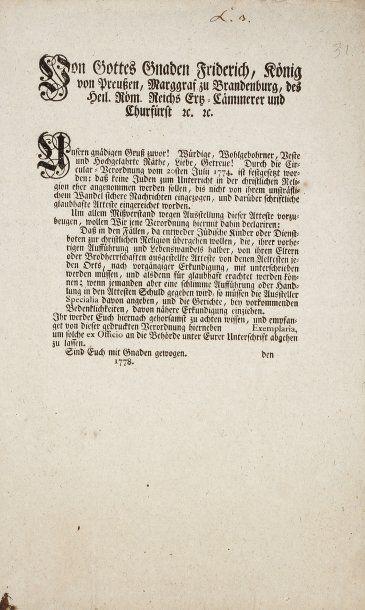 ALLEMAGNE - Edit du roi Frédéric de Prusse...