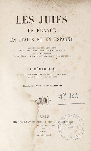 BEDARRIDE I. - Les Juifs en France, en Italie...