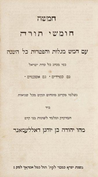 BIBLE - Pentateuque avec les cinq rouleaux...