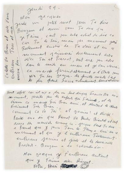 Henri CROLLA Lettre autographe signée à Jacques Prévert, Jeudi 29 [décembre 1949]...
