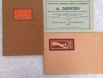 [MÉDECINE - ORTHOPÉDIE]. Ensemble de 3 catalogues...
