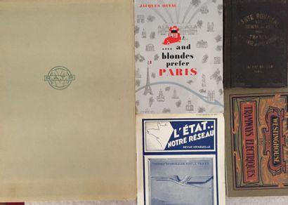 [TRANSPORTS FERROVIAIRES]. Ensemble de 5 brochures : - Carte physique et routière...