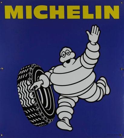 [AUTOMOBILE - PNEUMATIQUE] MICHELIN. Bibendum Michelin Tôle émaillée (1950). Bon...