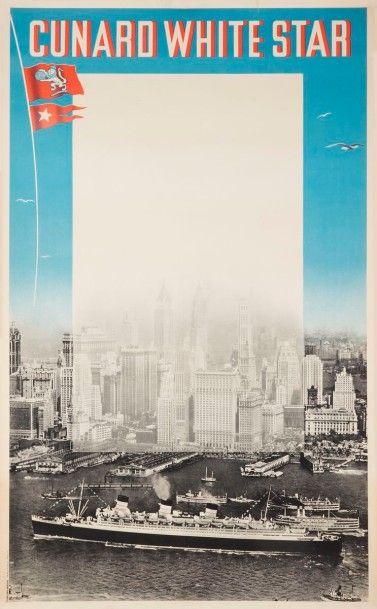 [NAVIGATION] ROQUIN Cunard white star (Photographie du port de New-York), 1938 Signée...
