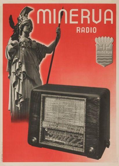 ANONYME Minerva radio Publimp Nadal 76 x 57 cm 3 exemplaires. On joint : 3 prospectus...