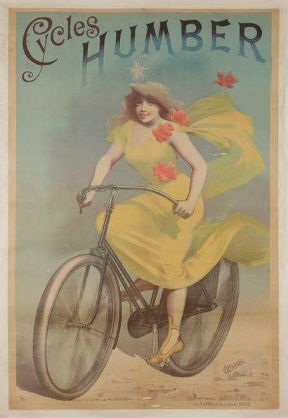 Alfred CHOUBRAC (1853-1902) Cycles Humber Signée en bas à droite. Entoilée, Assez...