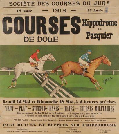R. PRUNIER Courses de Dole Société des courses du Jura, 1913. Signée en bas à droite....