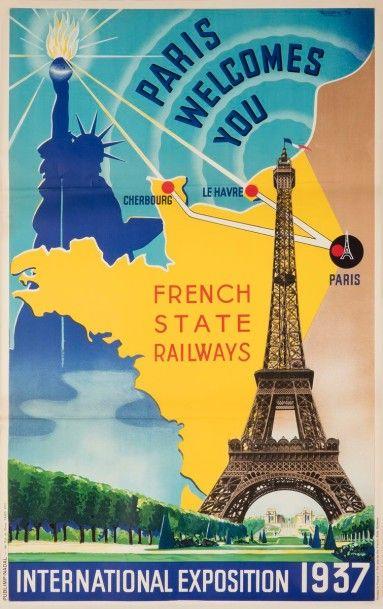 HILDEN Paris welcome's you, 1936 International exposition 1937. Création Publimp...