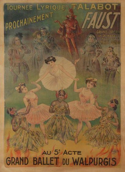 Louis GALICE (1864-1935) Tournée lyrique Talabot, Faust Entoilage ancien, bon état....