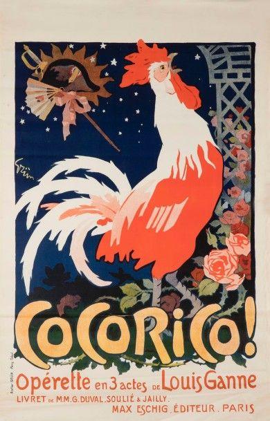 Jules GRUN (1868-1938) Cocorico Signée au...