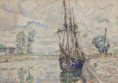 Paul SIGNAC (1863-1935) Landerneau, 1929 Dessin au crayon et aquarelle. Signé en...