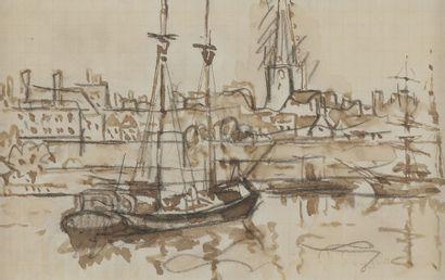 Paul SIGNAC (1863-1935) Saint-Malo, bateaux dans le port Lavis et sépia. Porte le...