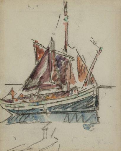 Paul SIGNAC (1863-1935) Saint Tropez- Voilier à l'ancre Aquarelle. Porte le timbre...