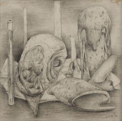 Henri GOETZ [franco-américain] (1909-1989) Composition surréaliste, 1941 Dessin...