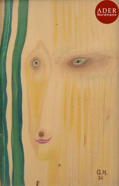 Georges HUGNET (1904-1974) Visage bois, 1956...