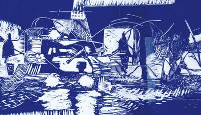 Dominique HERAUD (Né en 1948) Les Passeurs, 2009 Gravure, taille d'épargne. Epreuve...
