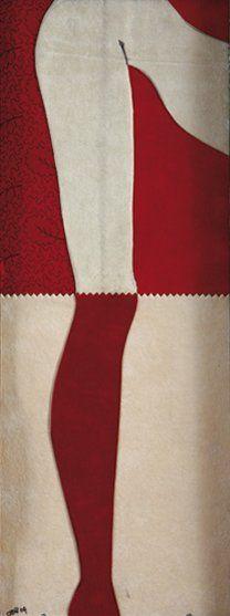 Ophélie BONHEME (Née en 1959) Legs Dessin, collage et tissus sur toile. Signé et...