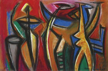 Philippe DODARD [haïtien] (Né en 1954) Danse nocturne Pastel sur papier. Signé et...