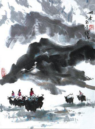 Renaud ZHANG (Né en 1976) Voyage au Tibet, le début du printemps, 2005 Encre de Chine...