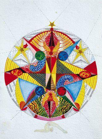 Cornélia VOGEL (Née en 1952) 3 Étoiles Aquarelle. Signée en bas à droite. Datée au...