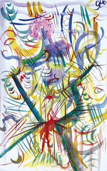Oleg KOLESOV, dit OKO (Né en 1960) Structure organique Aquarelle. Monogrammée en...