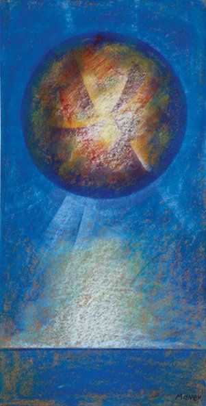 Nicolas MANEV (Né en 1940) Planète inconnue Pastel sur liège. Signé en bas à droite...