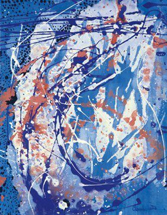 Claude FETIS (Né en 1932) Sans titre Acrylique et peinture glycéro sur papier. Signée...