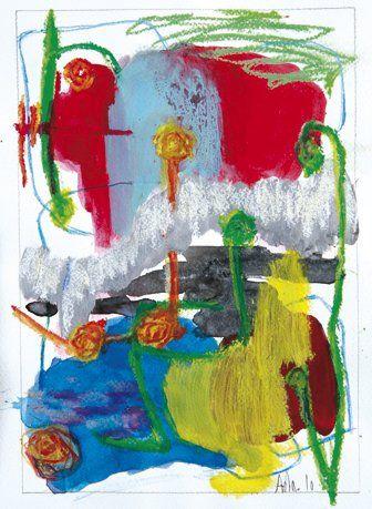 Anne DAMESIN (Née en 1962) Hullabaloo Huile et lavis d'encre de Chine. Signé et daté...