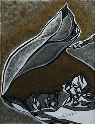 Anaïd DEREBEYAN (Née en 1946) Sans titre Aquarelle, encre de Chine et gouache or...