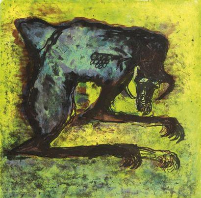 Emmanuelle RENARD (Née en 1963) La Bête Lithographie numérotée 60/60. Signée en bas...