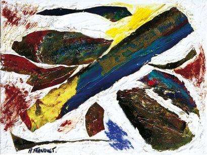 Axelle FRANQUET (Née en 1960) Haïti chérie Huile, collage et acrylique sur toile....