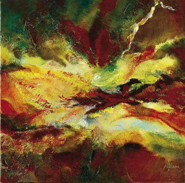 Jeanne BLANC (Née en 1930) Cyclone Huile sur toile. Signée en bas à droite et au...