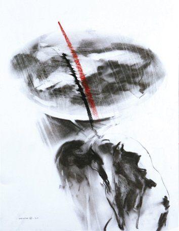 Christian HACHE (Né en 1949) Sans titre Fusain et craie pastel sur papier. Signé...