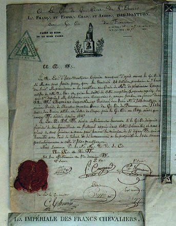 Lettre manuscrite adressée par la loge «Française...