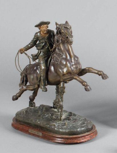 « Buffalo Bill ». Statuette équestre en régule...