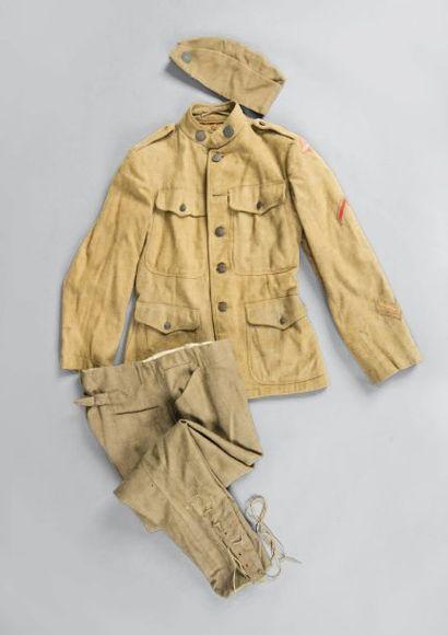 Uniforme US. Pantalon, vareuse, calot en drap kaki. A.B.E. Première guerre mond...