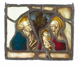 La Vierge à l'Enfant et Saint Pierre. Vitrail...