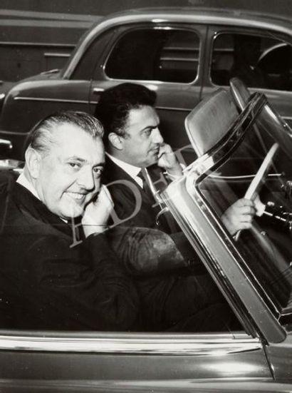 Jacques Tati et Federico Fellini à Rome, 1958.