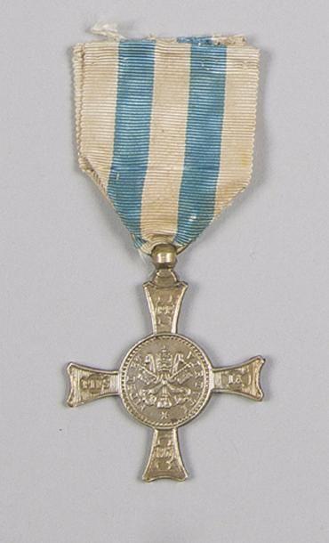 VATICAN Médaille de Mentana, créée en1867. Maillechort. Ruban. Hauteur: 4,8 cm...