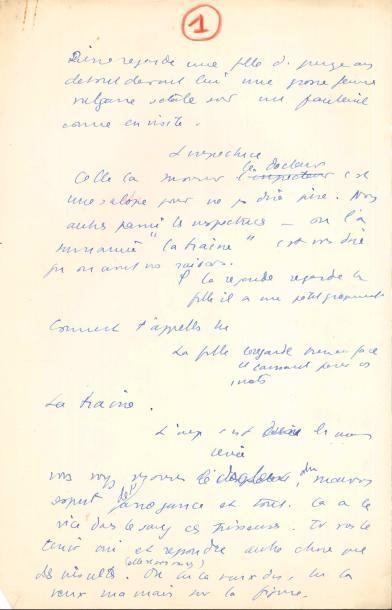 Jean ANOUILH. Manuscrit autographe, Le Bon...