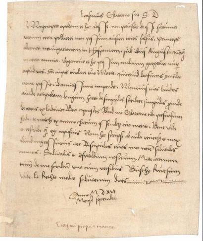ERASME (1469-1536). Lettre manuscrite (copie...