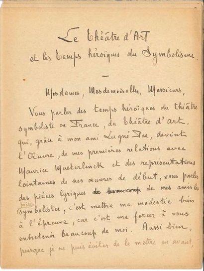 Paul FORT. Manuscrit autographe signé, Le...