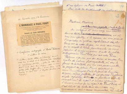 [Paul FORT]. 2 manuscrits autographes, et...